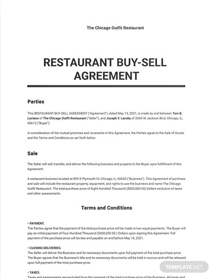 Restaurant Buy Sell Agreement Sample