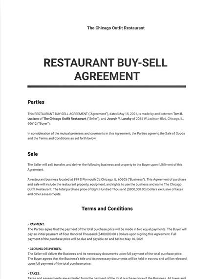 Restaurant Buy Sell Agreement Template