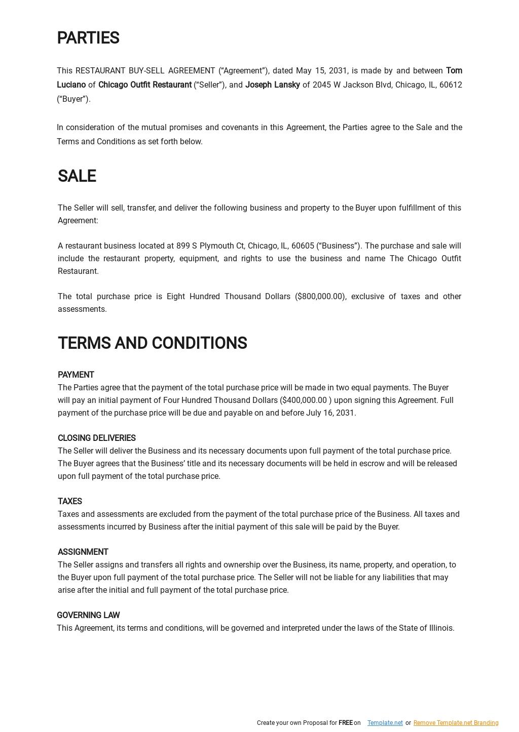 Restaurant Buy Sell Agreement Template 1.jpe
