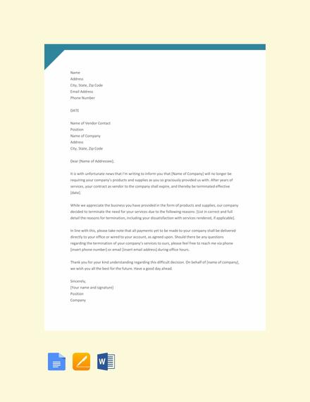 Free Vendor Termination Letter Template