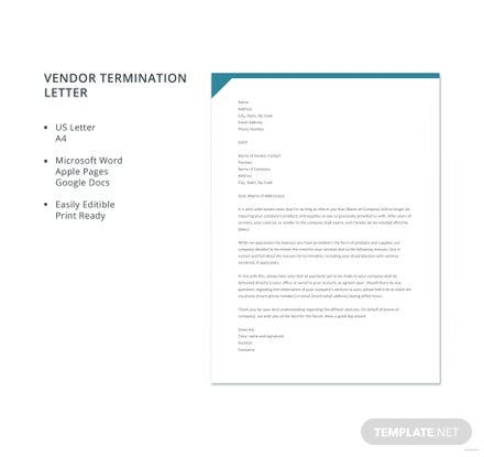 Free Vendor Termination Letter Template