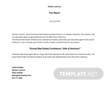 Sample Trip Report Template