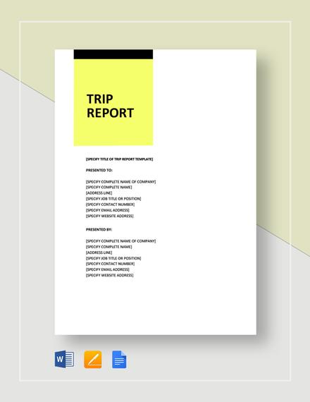 Sample Trip Report Template