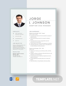 Adoption Case Manager Resume Template