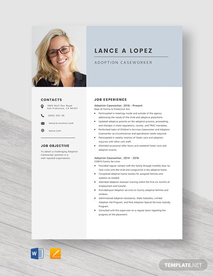 Adoption Case Worker Resume Template