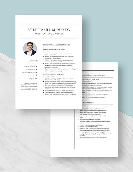 Adoption Social Worker Resume Download