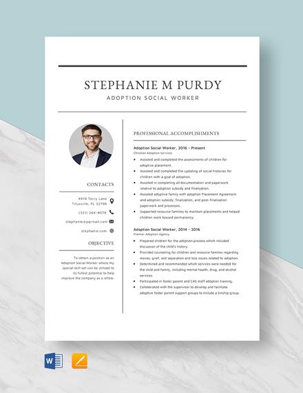 Adoption Social Worker Resume