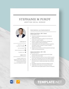Adoption Social Worker Resume Template