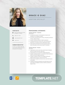Adoption Specialist Resume Template