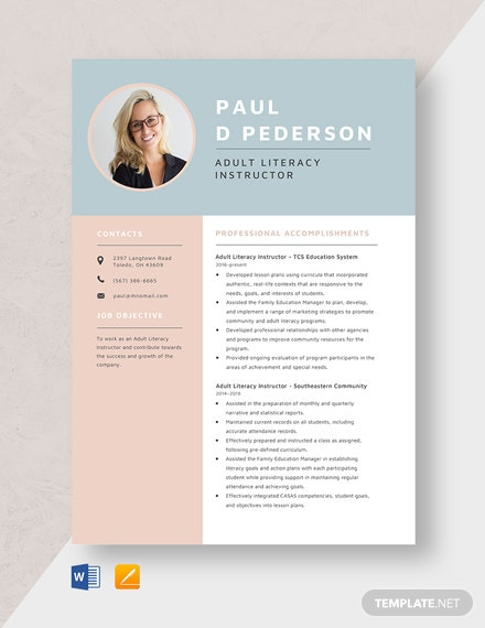Adult Literacy Instructor Resume Template