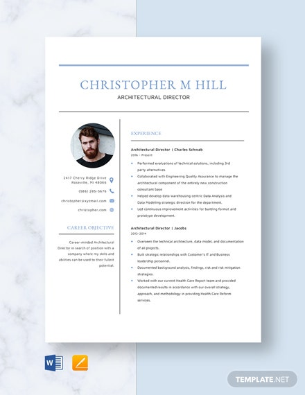 Architectural Director Resume Template
