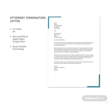 Free Attorney Termination Letter Template