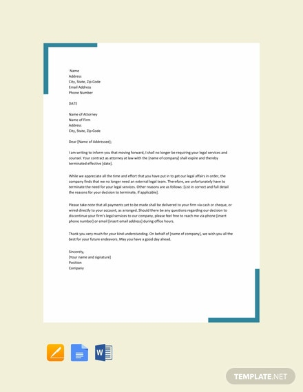 Free-Attorney-Termination-Letter-Template-440x570-1 Sample Letter To Lawyer Template on campaign fundraising, employee termination, business proposal, university petition, character reference, professional cover, employment termination, for kids, donation request, company introduction,
