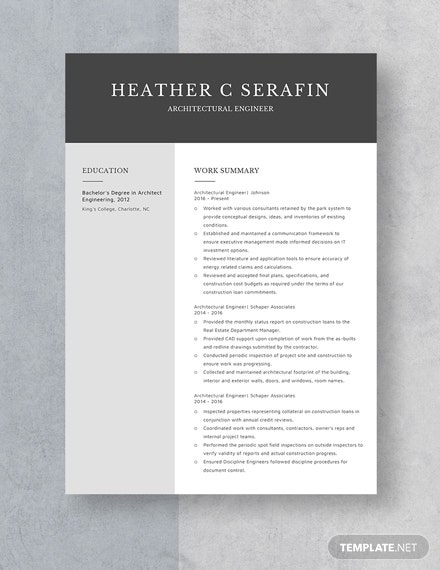 Architectural Engineer Resume Template