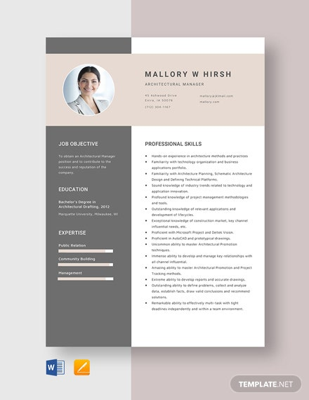 Architectural Manager Resume Template