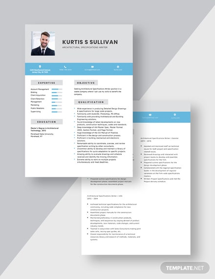 Architectural Specifications Writer Resume Download