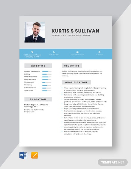 Architectural Specifications Writer Resume