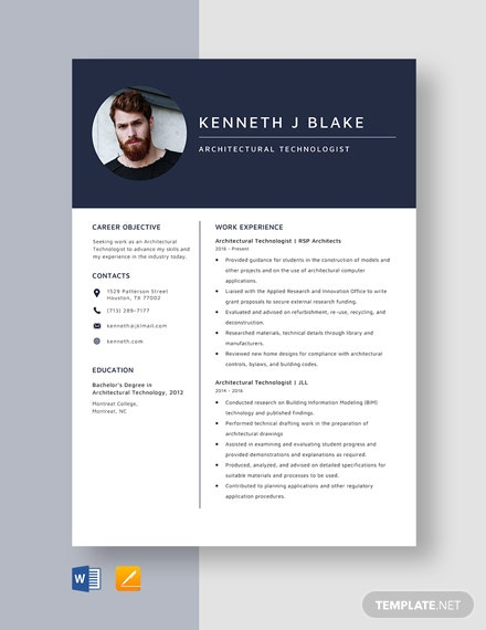 Architectural Technologist Resume Template