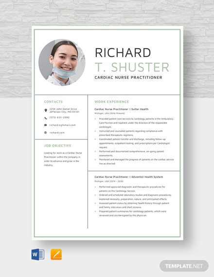 Cardiac Nurse Practitioner Resume Template