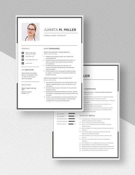 Cardiac Nurse Specialist Resume Download