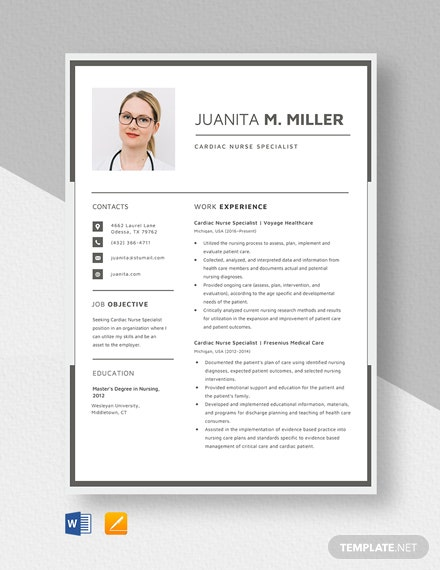 Cardiac Nurse Specialist Resume Template