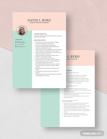 Cement Process Engineer Resume Download
