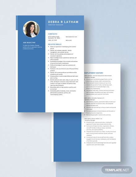 Cemetry Manager Resume Download