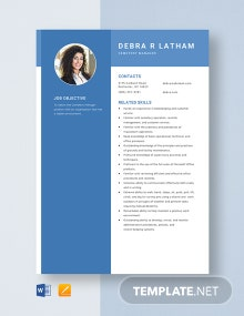 Cemetry Manager Resume Template