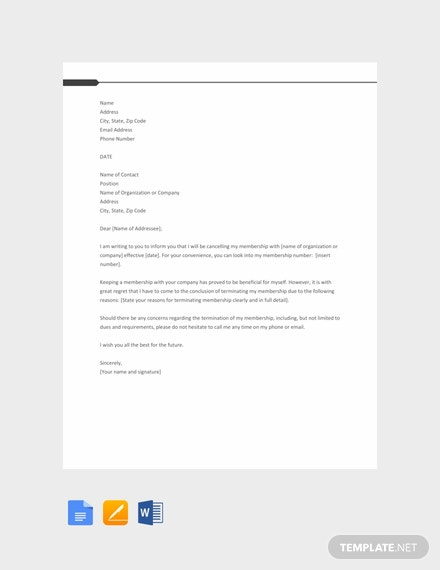 Free Membership Termination Letter Template