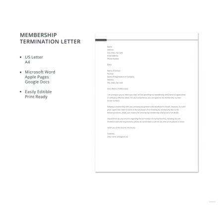 Free Membership Termination Letter Template