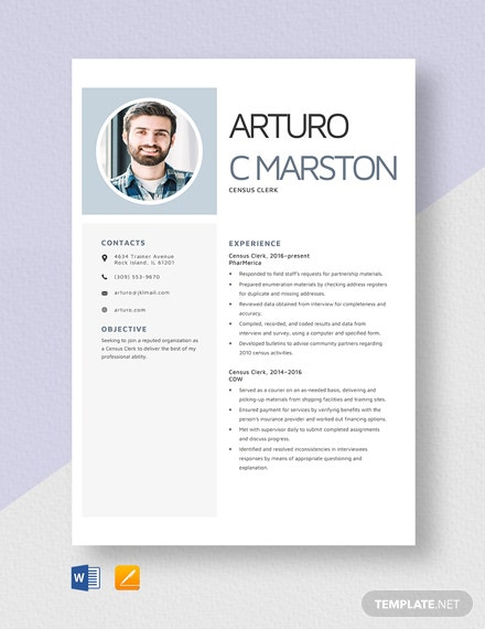Census Clerk Resume Template