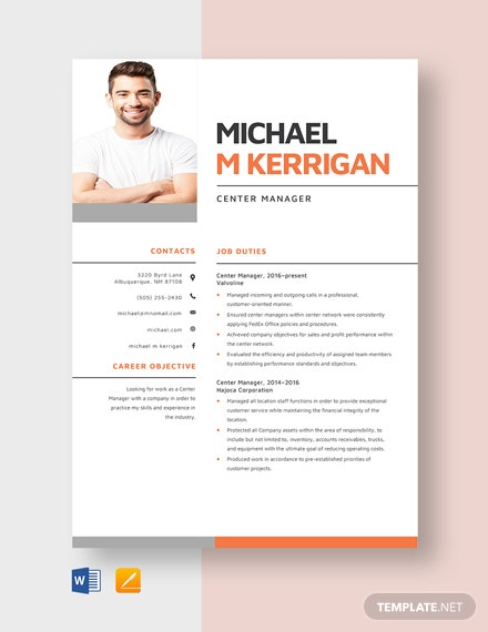 Center Manager Resume Template