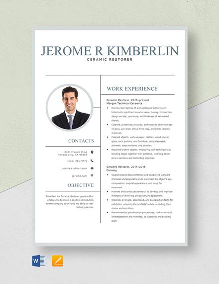 Ceramic Restorer Resume Template