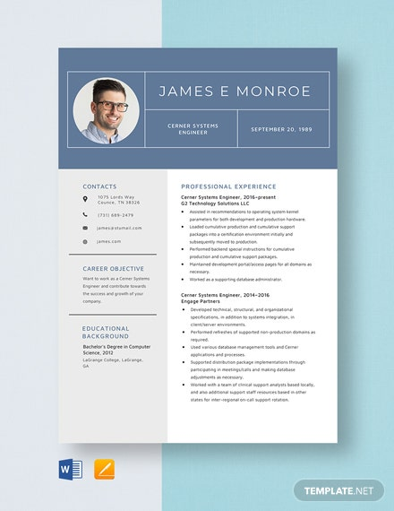 Cerner System Engineer Resume Template