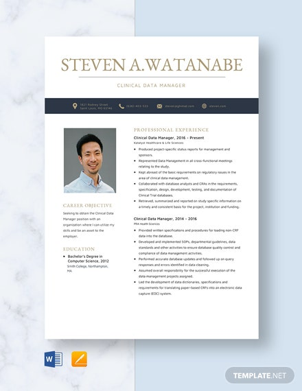Clinical Data Manager Resume Template