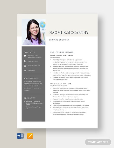 Clinical Engineer Resume Template