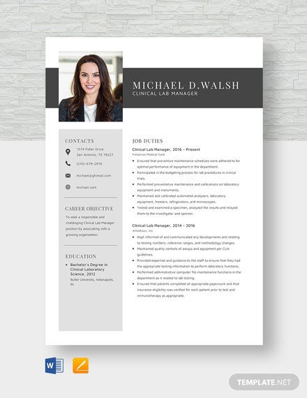 Clinical Lab Manager Resume Template