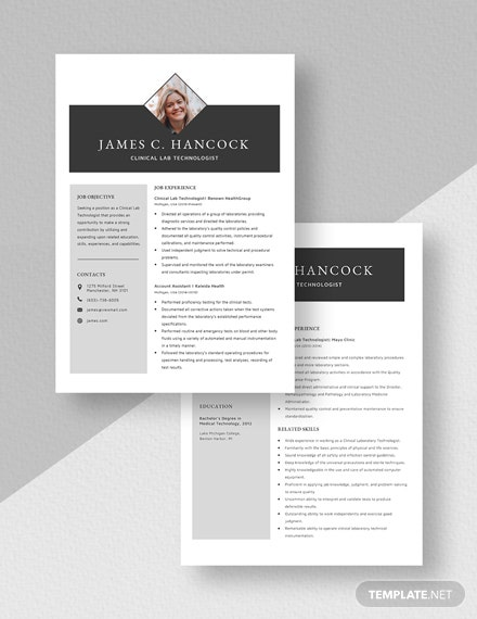 Clinical Lab Technologist Resume Download