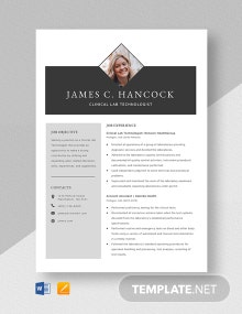 Clinical Lab Technologist Resume Template
