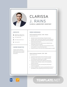 Clinical Laboratory Assistant Resume Template