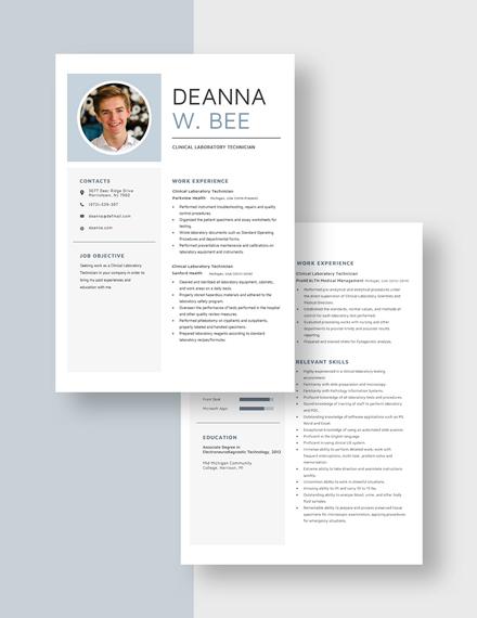 Clinical Laboratory Technician Resume Download