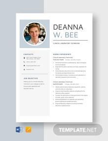 Clinical Laboratory Technician Resume Template