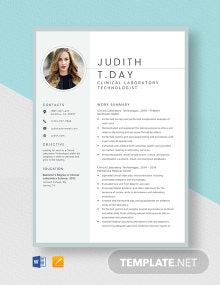 Clinical Laboratory Technologist Resume Template