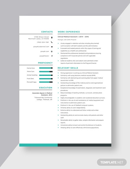 Clinical Medical Assistant Resume Template - Word (DOC ...