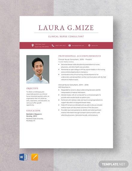 Clinical Nurse Consultant Resume Template