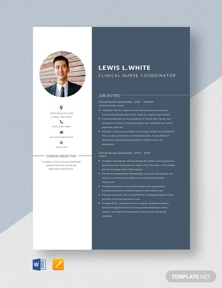 Clinical Nurse Coordinator Resume Template