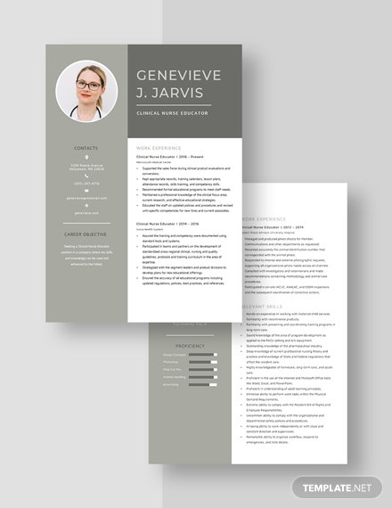 Clinical Nurse Educator Resume Template [Free Pages] - Word, Apple Pages