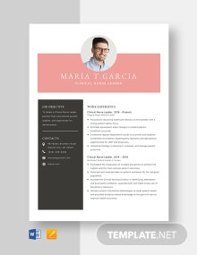 Clinical Nurse Leader Resume Template