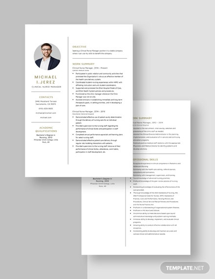 Clinical Nurse Manager Resume Download