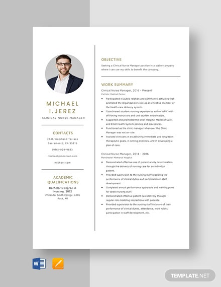 Clinical Nurse Manager Resume Template